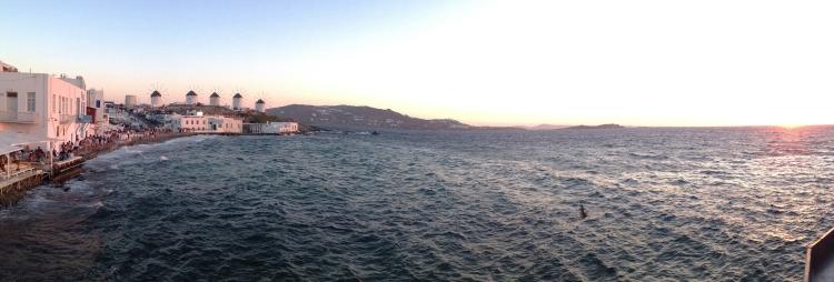 Sunset from Little Venice in Mykonos Town