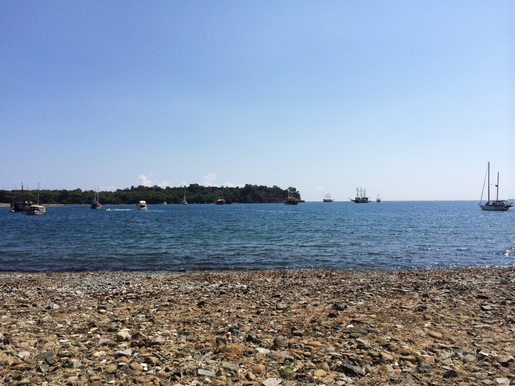 by late morning, a steady stream of day-trip party boats pollute Phaselis' bay with blasting garbage music