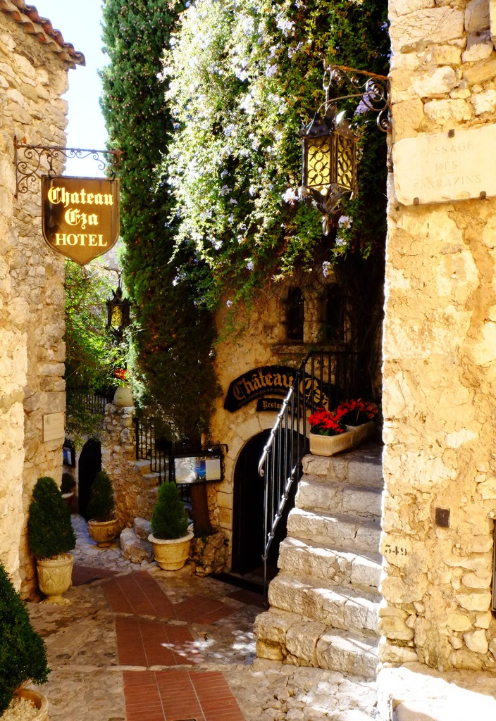 a windy path leads past the posh Château Eza hotel in Eze